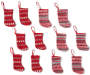 Red Knit Sweaters Mini Stockings 12 Pack entire set showing with gray, red and white fair isle knit stocking and red and white fair isle knit stocking overhead view silo image