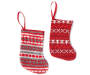 Red Knit Sweaters Mini Stockings 12 Pack with each style showing with gray, red and white fair isle knit stocking and red and white fair isle knit stocking overhead view silo image