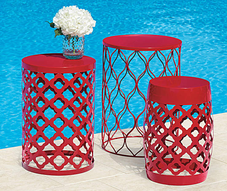 Red Outdoor Drum Table Collection Big Lots