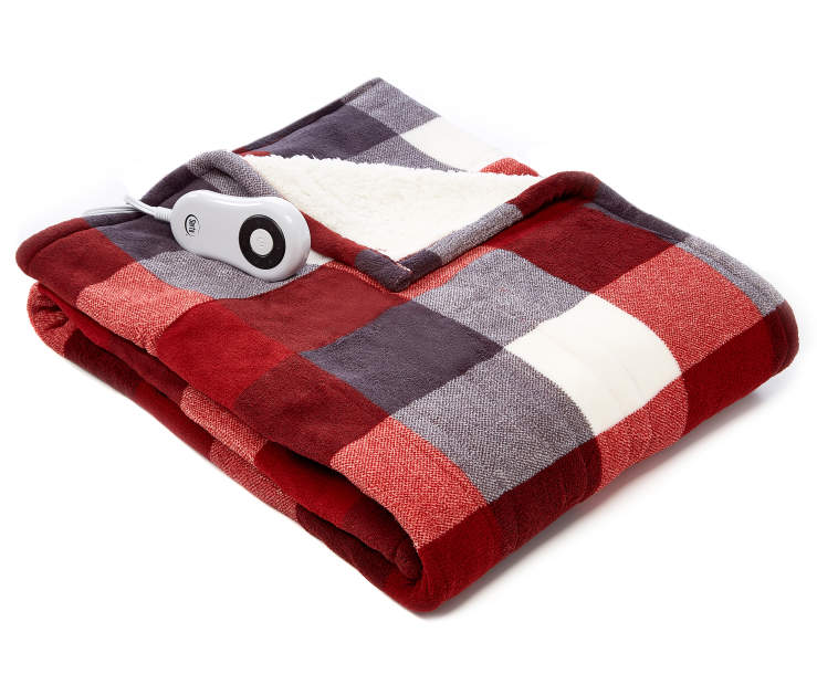 Red Plaid Reversible Sherpa Electric Throw silo front