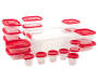 Red Plastic Food Storage Set 40 Piece Displayed Out of Package silo Image
