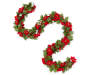 Red Poinsettia Chain Garland with Holly and Berries 6 Feet Long in a Snake Pose Overhead View Silo Image