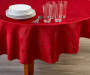 Red Poinsettia Fabric Round Tablecloth 60 inch lifestyle