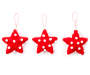 Red Pom Pom Fabric Star Ornaments 3 Pack silo front