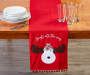 Red Pom Pom Reindeer Table Runner 13 inch x 72 inch lifestyle