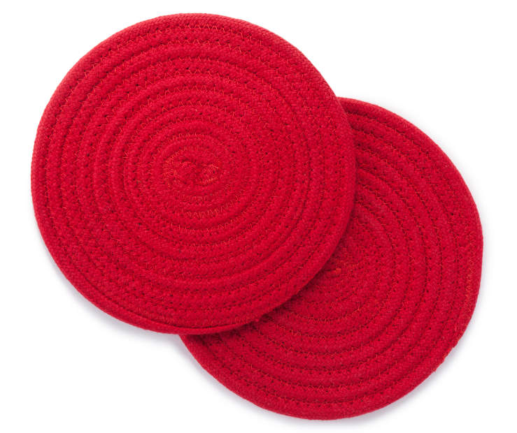 Red Round Trivets 9 Inches 2 Pack Stacked Silo Image