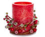 Red Rustic Pillar LED Candle with Berry Ring 4 inch silo front