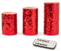 Red Sequin Pillar LED Candles with Remote 3 Pack silo front