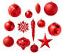 Red Shapes Shatterproof Ornaments 40 Pack Out of Package Silo