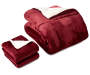 Red Sherpa 3 Piece Queen King Comforter Set Folded Overhead View Silo Image