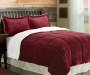 Red Sherpa 3 Piece Queen King Comforter Set On Bed Room Environment Lifestyle Image