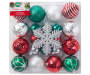 Red Silver and Green Snowflake Shatterproof Ornaments 24 Pack silo front package