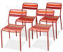 Red Slat Wood and Steel Patio Dining Chairs 4 Pack silo front