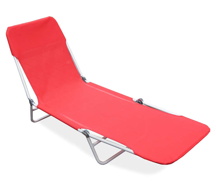 Red Sling Folding Lounger silo angled