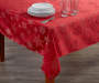 Red Snowflake Fabric Tablecloth 60 inch x 102 inch lifestyle