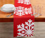 Red Snowflake Tapestry Table Runner 13 inch x 72 inch lifestyle