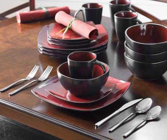 Gibson Home Red Soho Square 16-Piece Dinnerware Set