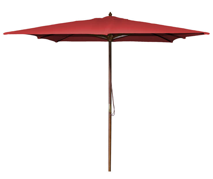 Red Square Wood Market Patio Umbrella 8.5 Feet with Pull String Front View Silo Image