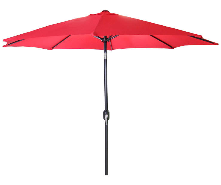Red Steel Market Patio Umbrella 7.5 Feet with Hand Crank Front View Silo Image