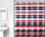 Red Stripe PEVA Shower Curtain 72in bathroom setting