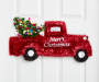 Red Tinsel Pickup Truck Wall Decor on door