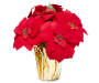 Red Velvet texture artificial poinsettia flowers in a gold foil covered pot front view silo image