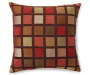 Red Windowpane Throw Pillow Front View with Multicolor Square Pattern Silo Image