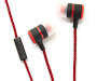 Red Zig Zag Stereo Earbuds Out of Package Silo Image