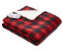 Red and Black Buffalo Check Plaid Sherpa Electric Throw with Remote Control Folded Silo Image