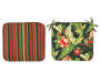 Red and Black Tropical and Stripe Reversible Outdoor Seat Pads 2 Pack Silo Image