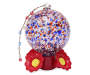 Red and Blue Speckled Glass Ball Hummingbird Feeder