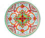 Red and Green Medallion Melamine Dinner Plate silo front