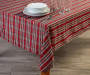Red and Green Plaid Fabric Tablecloth 60 inch x 102 inch lifestyle