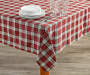 Red and Ivory Plaid Fabric Tablecloth 52 inch x 70 inch lifestyle dining table