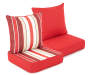 Red and Linen Stripe and Solid Reversible Outdoor Deep Seat and Back Cushion Set Silo Image Angled View