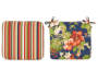 Red and Navy Paradise Floral and Stripe Reversible Outdoor Seat Pads 2 Pack Silo Image
