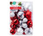 Red and Silver Shatterproof Ornaments 50 Count silo front in package