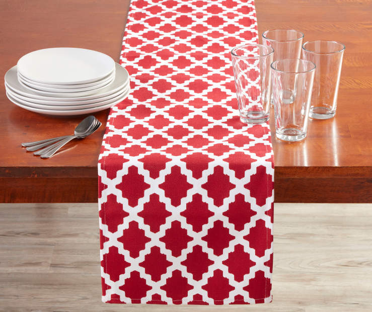 Red and White Tile Table Runner 13 Inches by 72 Inches on Table with Decor Lifestyle Image