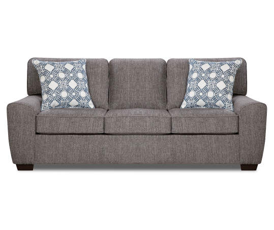 Redding Gray Chenille Sofa With Pillows