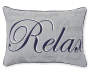 Relax Gray & Navy Script Outdoor Lumbar Throw Pillow 12 and a half inches by 17 inches Silo Image