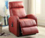 Ricardo Red Faux Leather Power Lift Recliner Lifestyle Angled Left Footrest Open