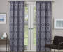 Rosario Charcoal Geo Trellis Room-Darkening Single Curtain Panel 95 inches Lifestyle
