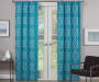 Rosario Teal Geo Trellis Room-Darkening Single Curtain Panel 63 inches Lifestyle