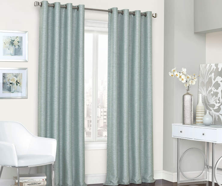 Roscoe Spa Blue Blackout Curtain Panel 84 Inches Window View