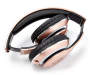 Rose Gold Bluetooth and FM Radio Headphones Silo Folded