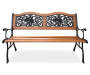 Rose Motif Slat Wood Garden Bench silo front view