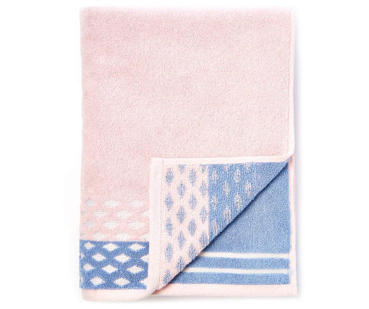 Rose and Blue Jacquard Bath Towel silo front