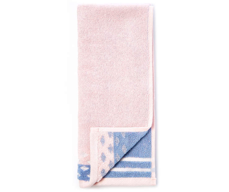 Rose and Blue Jacquard Hand Towel silo front