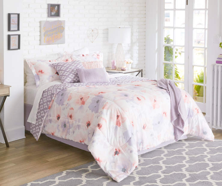 Rose and Orchid Carolee King 12 Piece Reversible Comforter Set lifestyle bedroom