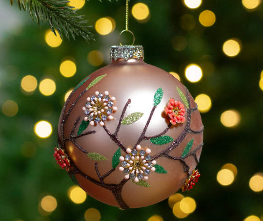 Rose Gold Beaded Floral Ball Glass Ornament Big Lots
